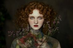 Portrait of young woman holding flower - Buy this stock photo and explore similar images at Adobe Stock Art Photography Portrait, Paint Photography, Oil Portrait, Editorial Photography, Near Dark, Illustrator, Pre Raphaelite, Flowers In Hair, Mistress