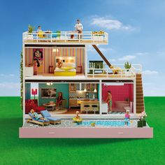 The Stockholm Dollhouse from Lundby offers amazing detail and true-to-life design — providing the foundation for a wonderfully intricate doll play experience, the accessories and doll choices to match this wonderful house are endless. Barbie Doll House, Barbie Dolls, Style Californien, Wooden Alphabet, Nursery Storage, Modern Dollhouse, Vintage Dollhouse, Vintage Dolls, Decoration