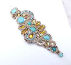 Turquoise Bracelet Soutache Cuff Embroidered Bracelet Blue and Nude