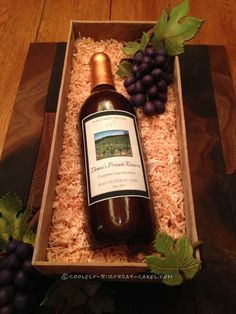 Classy Wine Bottle Cake for a 60th Birthday