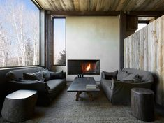 The mystical La Muna mountain retreat, Aspen Colorado. Wabi Sabi is the Japanese tradition of accepting imperfections in any object. It's also the guiding design principal adopted by Oppenheim Architecture + Design Living Area, Living Spaces, Cozy Living, Living Rooms, Aspen House, Chalet Interior, Resort Interior, Ski Chalet, Cozy Room