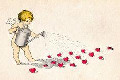 Vintage Angel Clip Art Free | Cherub sowing the seeds of love - vintage Valentine's Day card