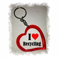 "Exclusive Gift Idea: Heart Keyring ""I Love Recycling"", a ..."