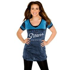 Touch By Alyssa Milano Tennessee Titans Womens Coop Premium T-Shirt - Light Blue/Navy Blue