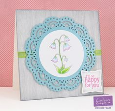 Designed by Annie Williams for @CraftersCompUS ; Crafter's Companion EZMount Stamp Set - Springtime; Vintage Floral Collection EZMount Stamp Set - Greetings; Die'sire Decorative Dies - Chantilly Lace Stamping Frame; Die'sire Decorative Dies - Enchanted Spring; Spectrum Noir Sparkle Pens - Moonstone, Cosmos, Emerald Green, Clear; Crafter's Companion Shimmering Cardstock - Coastal Pearl; Crafter's Companion Watercolor Cardstock