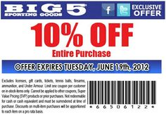 10% off purchase at Big 5 Sporting Goods! #coupon