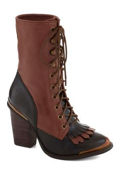 Brown Two Tone Neo-Victorian Memorable Moniker Lace-up Toe Fringe Boot, - Jeffrey Campbell for #ModCloth