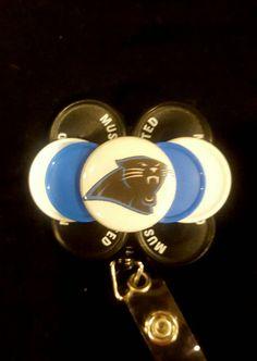 Panther ID Reel Carolina Panthers ID Badge Holder Panther Badge Reel
