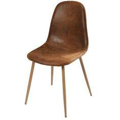 Chaise en microsuède marron vieilli et métal