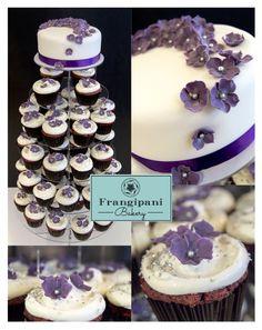 #FrangipaniBakery #RedVelvet #cupcake tower & violet hydrangea flowers - Red velvet #kuppikakkutorni violettihopea #hortensiankukilla
