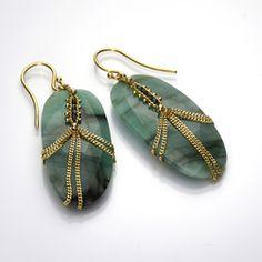 Diamond Draped Emerald Earrings by Amali @quadrumgallery