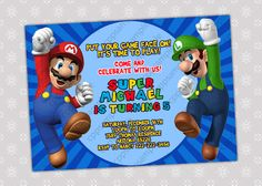 Super Mario Bros Birthday Party Invitation by CreativePartyPixels