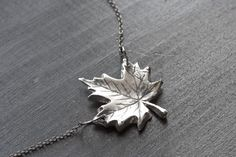 Just one of the amazing necklaces from the wonderful Etsy shop, tru.che #silver #leaf #fall