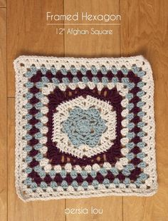 Hexagon Framed Flower Square | AllFreeCrochetAfghanPatterns.com