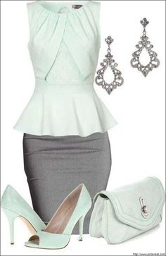 Party wear witha Pencil skirt and matching earrings.. Check more: