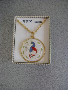 Hex Sign Necklace PA Dutch Distelfink Bird Necklace
