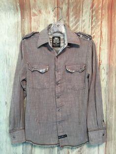 English Laundry Blaque Label Shirt Taupe Brown Cotton Stripe Raw Hem sz S EUC! #EnglishLaundry #ButtonFront