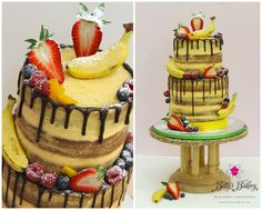 Exotic & tropical naked drizzle cake with lots of fresh & caramelized fruits - www.bettys-bakery.com