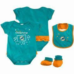 Miami Dolphins Newborn Girls Creeper, Bib and Bootie Set - Aqua/Orange