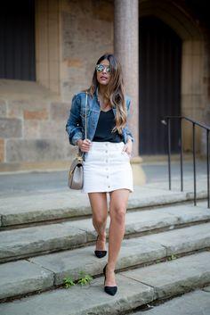 Button Front Denim Skirt | Pam Hetlinger | The Girl from Panama