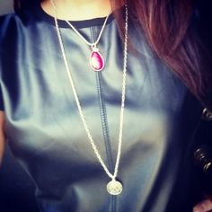 "Fuschia Charm with Swarovski Crystal on an 18"" Silver Plated Chain Necklace Handmade by U.BE.U. FASHION"