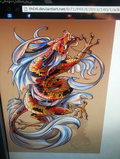 Koi fish transforming into a  dragon (dont like the chicken looking  feet)