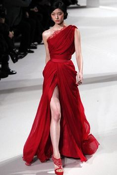 A model wears a creation from the Elie Saab spring/summer 2011 collection at Paris Haute Couture.