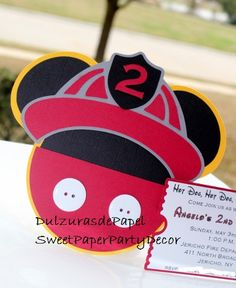 Mickey Mouse Firefighter Invitation-Mickey by SweetPaperPartyDecor