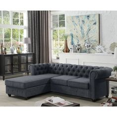 Shop for premium gray sectional couches at Wayfair. Find gray upholstered and leather sectionals at a great price today. Living Room Sofa Design, Living Room Grey, Living Room Sets, Living Room Furniture, Living Room Designs, Living Room Decor, Furniture Sets, Modern Sectional, Sectional Sofa