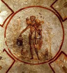 Buen Pastor de la Catacumba de San Calixto. Roma.S. III. Arte Paleocristiano.