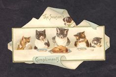 Helena Maguire Cats at Christmas Dinner Victorian Card 1890's s Hildesheimer |