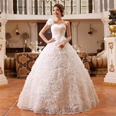 Amylinda™  One Shoulder Lace Length Ball Gown Wedding Dress