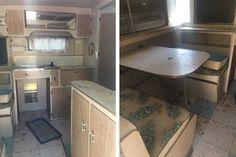 Before and after: A vintage caravan renovation Caravan Renovation Before And After, Caravan Makeover, Vintage Caravans, Vintage Vans, About Me Blog, Australia, Magazine, Cabinet, Furniture