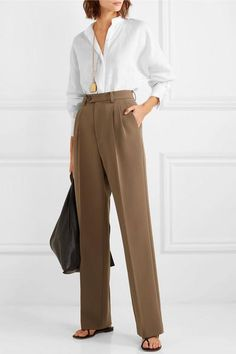 White linen Partially concealed button fastenings through front linen Dry clean Designer color: Bright White Mother-of-pearl: Australia Office Skirt Outfit, Office Outfits, Skirt Outfits, Classy Outfits, Casual Outfits, Cute Outfits, Uniqlo Women Outfit, Fashion Pants, Fashion Outfits