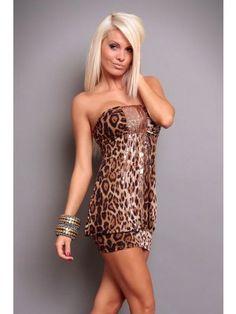Vivacious Strapless Leopard Print Club Dress with Sequins Decoration Club Dresses, Plus Size Dresses, Sexy Dresses, Sleeveless Dresses, Gorgeous Women, Amazing Women, Thighs Women, Clubwear, Night Out