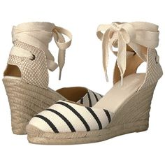 Soludos Striped Tall Wedge (Black/Natural) Women's Wedge Shoes ($95) ❤ liked on Polyvore featuring shoes, sandals, black shoes, soludos sandals, black sandals, black closed toe sandals and platform sandals