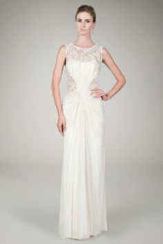 Beaded Crinkle Chiffon Gown in Cream - Bridal Suite - Shop | Tadashi Shoji