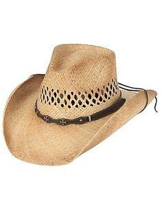 adc008557313b Cavenders Raffia Vent Double Cross Straw Cowboy Hat