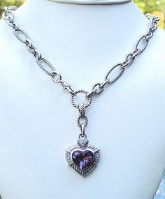 """JUDITH RIPKA Purple Amethyst Heart & CZ Silver Enhancer Pendant 18"""" Necklace                             Item condition:Pre-owned Price:US $350.00"""