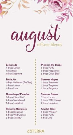 oil doterra August Diffuser Blends Essential Oil diffuser blends to enjoy during the month of August. Essential Oil Scents, Essential Oil Diffuser Blends, Essential Oil Uses, Doterra Essential Oils, Relaxing Essential Oil Blends, Essential Oil Combinations, Aromatherapy Oils, Young Living, Stress