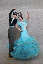 """Marin flamenco Vintage Muñeca 8"""" & par Chiclana Española Vestido Azul Macho"""