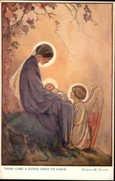 Mary with Jesus Angel by artist Margaret Tarrant Oh Pretty! I want everything of Margaret Tarrant like this : baby Jesus and Jesus as Adult. Not try to be too religious fanatical, but let it be know what I am into. Blessed Mother Mary, Divine Mother, Catholic Art, Religious Art, La Madone, Queen Of Heaven, Religious Pictures, Mary And Jesus, Virgin Mary