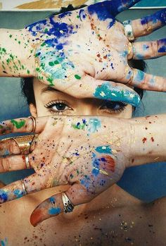 I love love love getting paint on my hands. The beauty of an artist.