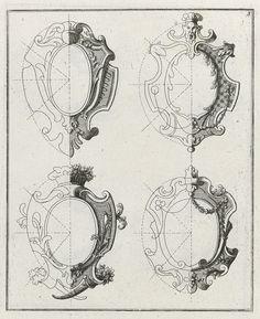 Blad uit serie met groteske schilden en andere versieringen   Preissler, Johann Daniel, Preissler, Johann Daniel
