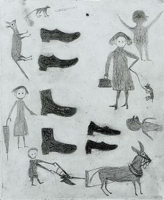 Bill Traylor. Shoes, Figures, Etc. 1939-42.   Pencil on cardboard. Metropolitan Museum of Art.