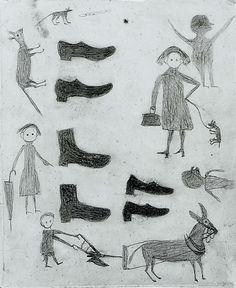 Bill Traylor. Shoes, Figures, Etc. 1939-42. Pencil on cardboard. Metropolitan Museum of Art.