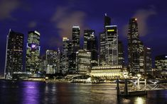 Download wallpapers 4k, Singapore, pier, nightscapes, metropolis, skyscrapers, Asia