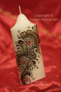 Sonia's Henna Art  - henna candle Mehndi Art, Henna Mehndi, Mehendi, Decorated Candles, Traditional Henna, Henna Candles, Henna Mandala, Henna Ideas, Hennas