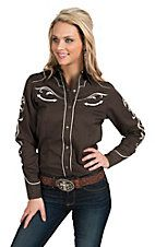 Roper Women's Brown Retro Western Shirt with Ivory Embroidery