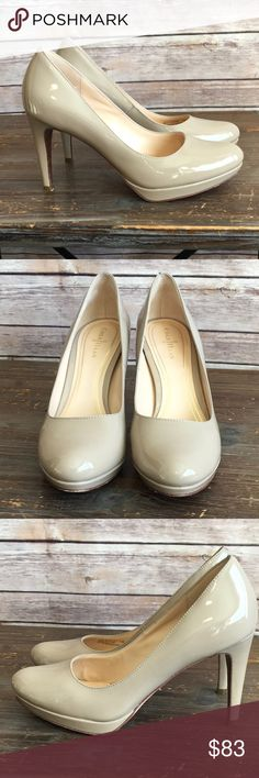 Cole Haan Chelsea Pump Maple Sugar Patten Leather Cole Haan Chelsea Pump Maple Sugar Patten Leather. EUC. 4 inch heel. Extra set of heel taps included. Box not included unless specifically requested (boxes add bulk and can increase cost of shipping). Cole Haan Shoes Heels